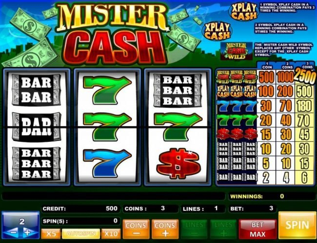 emu Casino featuring the Video Slots Mister Cash with a maximum payout of $5,000