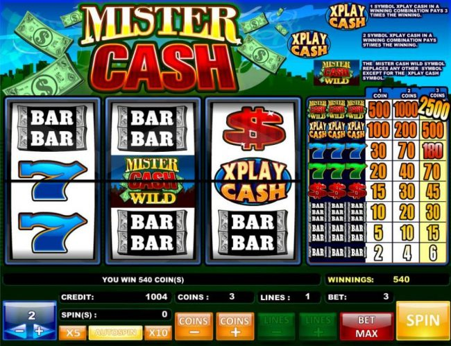 Play slots at Winstar: Winstar featuring the Video Slots Mister Cash with a maximum payout of $5,000
