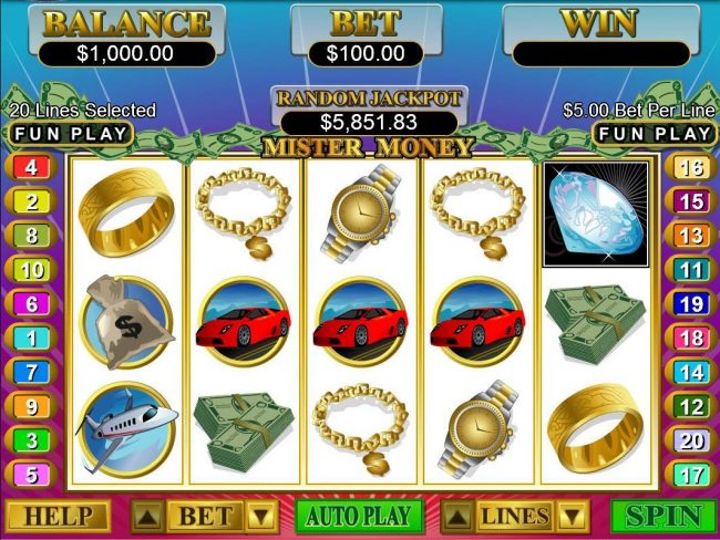 Mighty Slots featuring the Video Slots Mister Money with a maximum payout of $250,000