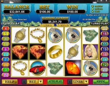 Slotsville featuring the Video Slots Mister Money with a maximum payout of $250,000
