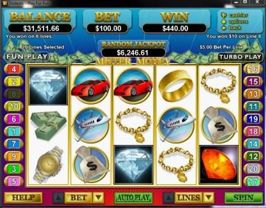 Slots.com featuring the Video Slots Mister Money with a maximum payout of $250,000