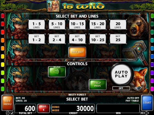 Noxwin featuring the Video Slots Misty Forest with a maximum payout of $30,000