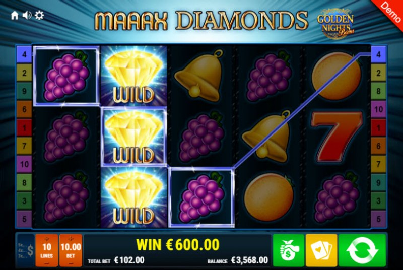 Maaax Diamonds Golden Nights Bonus :: Multiple winning paylines