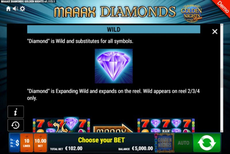 Maaax Diamonds Golden Nights Bonus :: Wild Symbols Rules