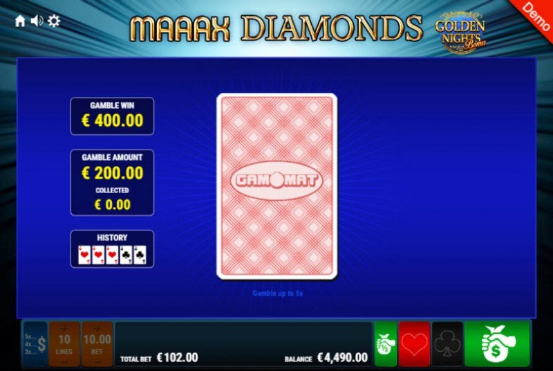 Maaax Diamonds Golden Nights Bonus :: Red or Black Gamble Feature