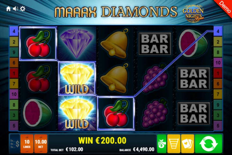 Maaax Diamonds Golden Nights Bonus :: Three of a kind