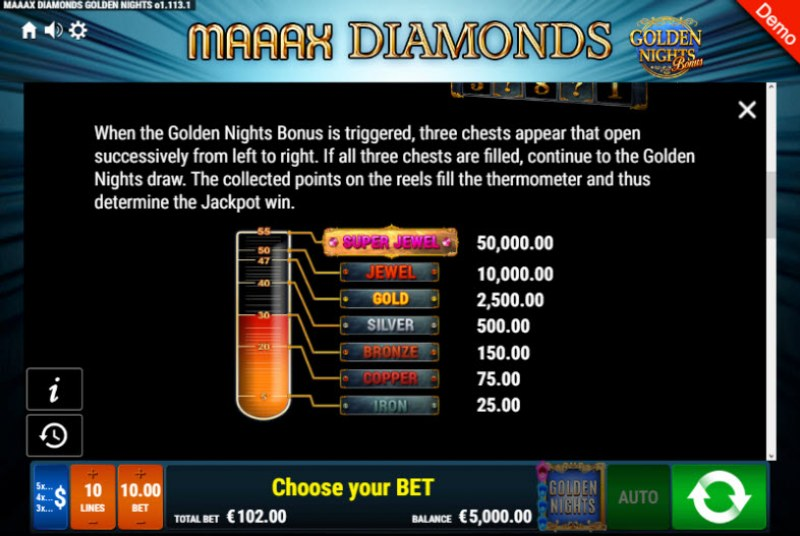 Maaax Diamonds Golden Nights Bonus :: Bonus Game Rules