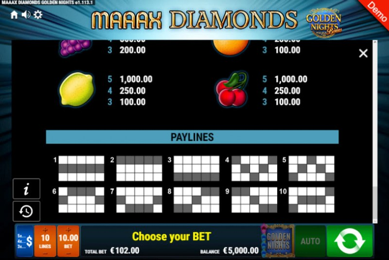 Maaax Diamonds Golden Nights Bonus :: Paylines 1-10