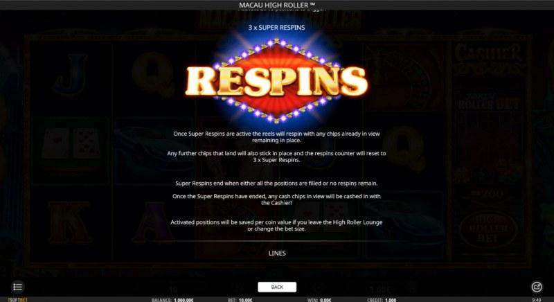 Macau High Roller :: Respin Feature