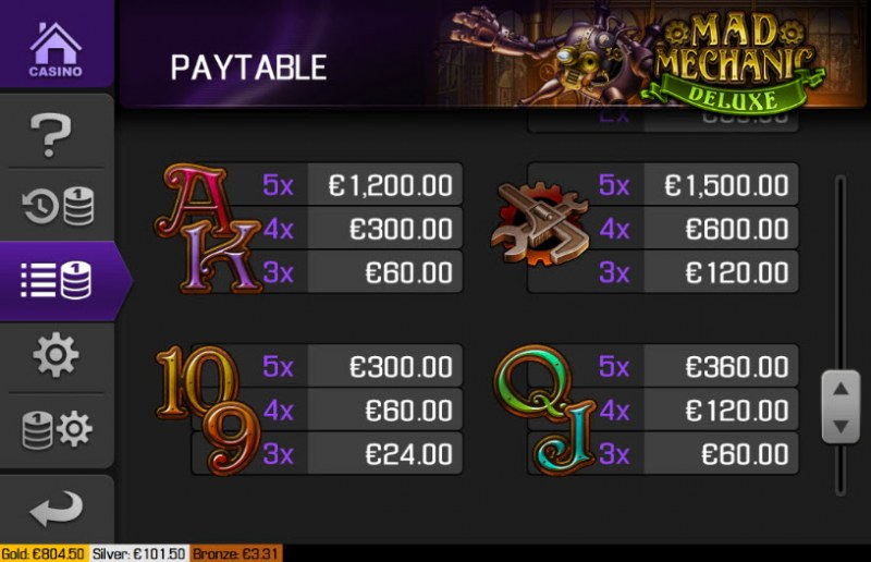 Mad Mechanic Deluxe :: Paytable - Low Value Symbols