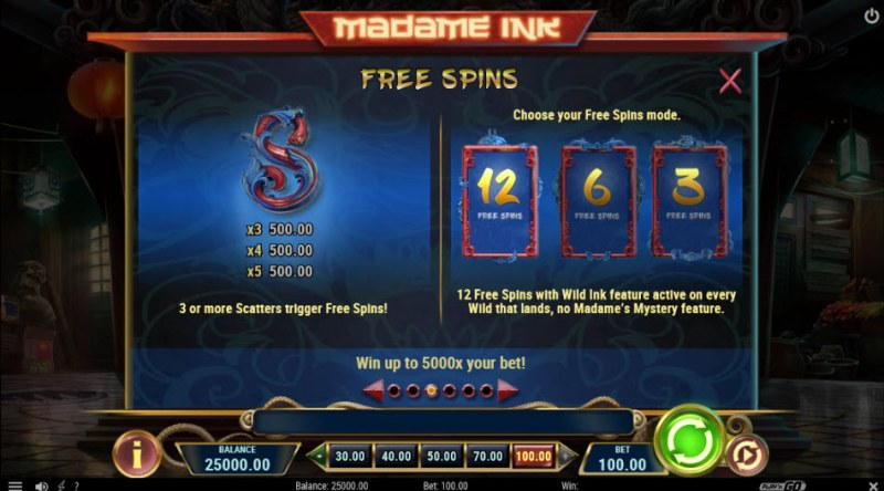 Madame Ink :: Free Spins Rules
