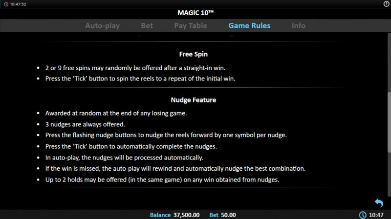 Magic 10 :: Feature Rules
