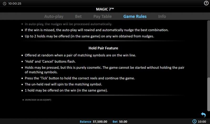 Magic 7 :: Hold Pair Feature
