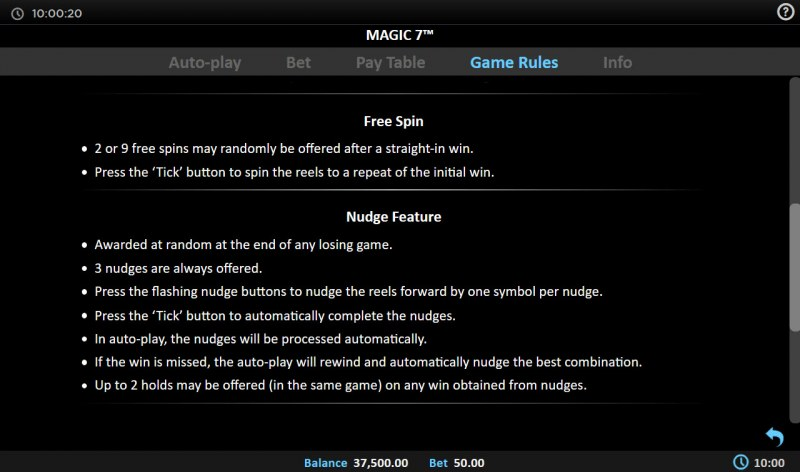 Magic 7 :: Free Spin Feature Rules