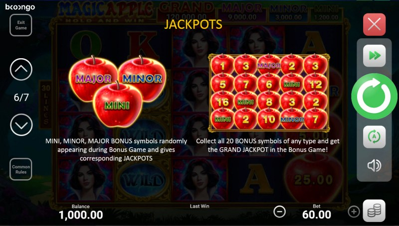 Magic Apple Hold and Win :: Jackpot Rules