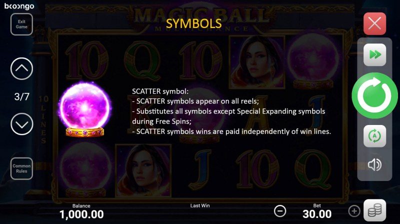Magic Ball Multichance :: Scatter Symbol Rules