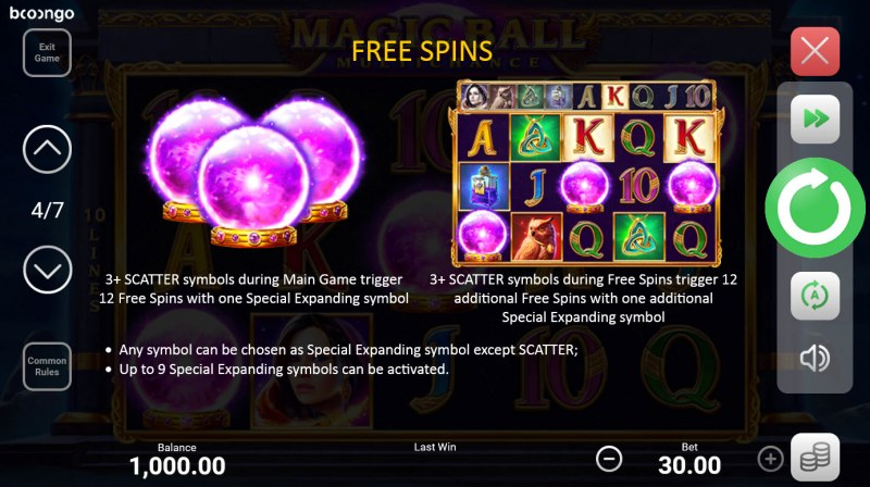 Magic Ball Multichance :: Free Spin Feature Rules