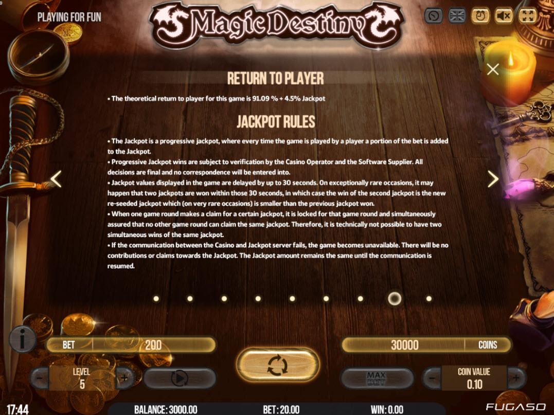 Play slots at Viggoslots: Viggoslots featuring the Video Slots Magic Destiny with a maximum payout of $80,000