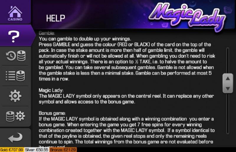 Magic Lady :: General Game Rules