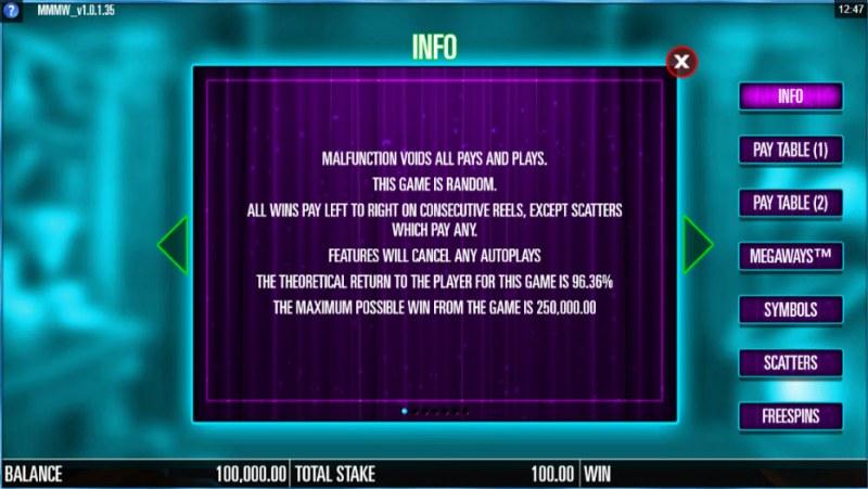 Magic Merlin Megaways :: General Game Rules