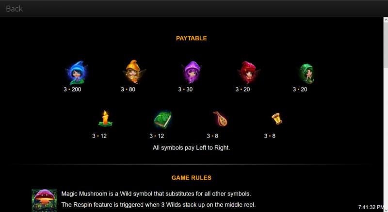 Magic Mushroom :: Paytable