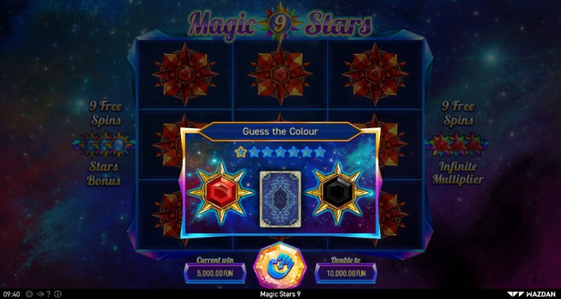 Magic Stars 9 :: Black or Red Gamble Feature