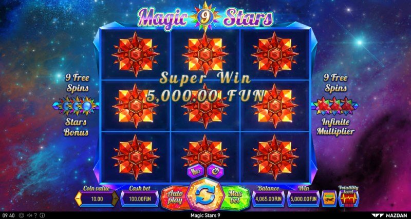 Magic Stars 9 :: Respin feature leads to a super win