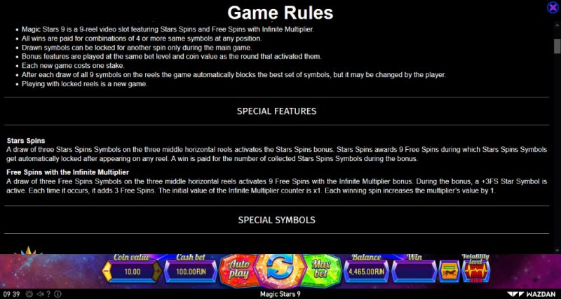 Magic Stars 9 :: General Game Rules