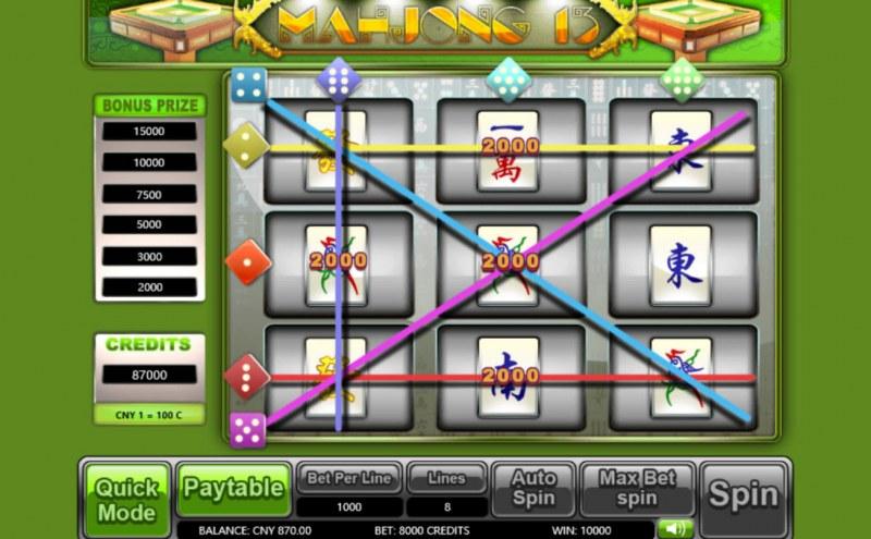Mahjong 13 :: Multiple winning paylines