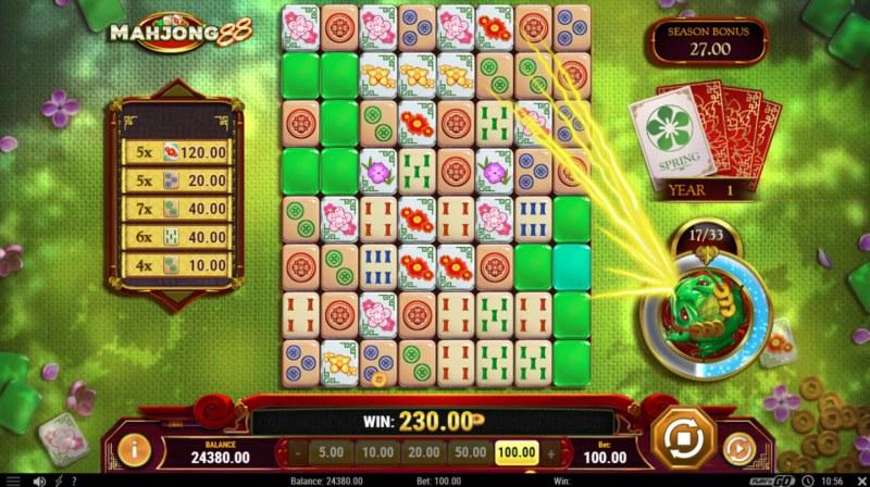 Mahjong 88 :: Winning symbols are collected