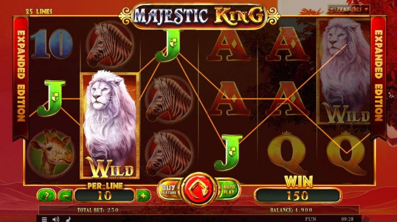 Majestic King Expanded Edition :: Multiple winning paylines