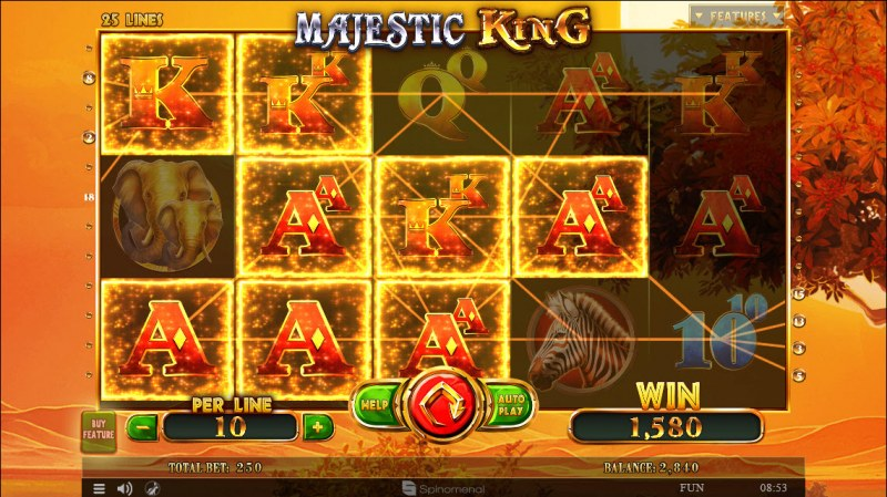 Majestic King :: Multiple winning combinations leads to a big win