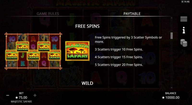 Majestic Safari :: Free Spin Feature Rules