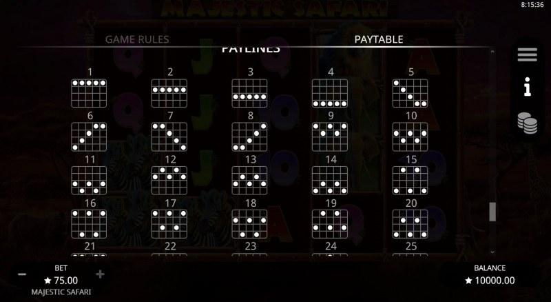Majestic Safari :: Paylines 1-25