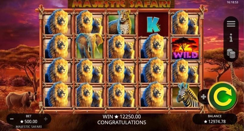 Majestic Safari :: Multiple winning combinations lead to a big win