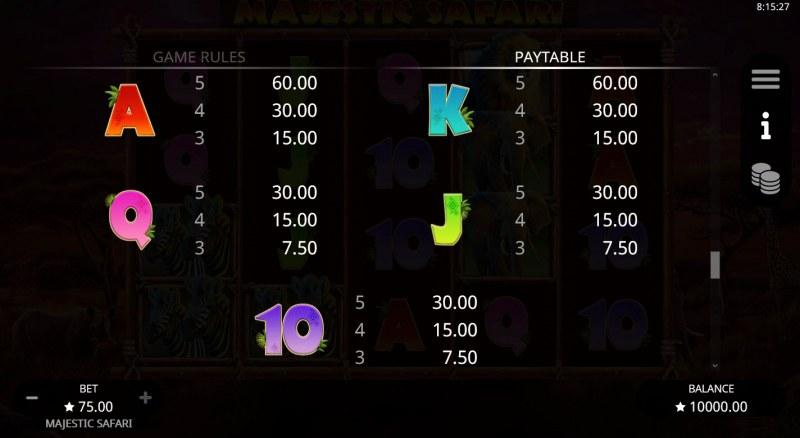 Majestic Safari :: Paytable - Low Value Symbols