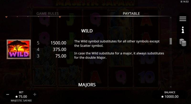Majestic Safari :: Wild Symbol Rules