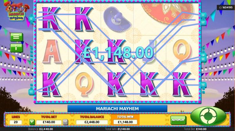 Mariachi Mayhem :: Multiple winning combinations lead to a big win