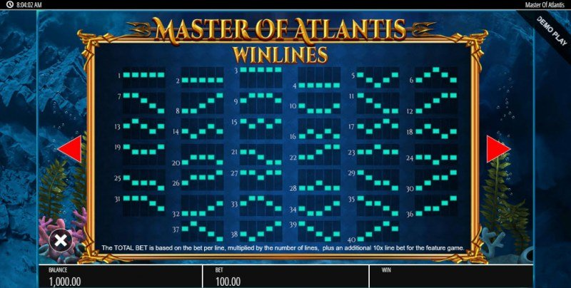 Master of Atlantis :: Paylines 1-40