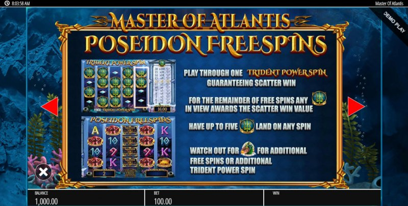 Master of Atlantis :: Free Spins Rules