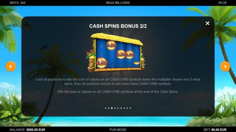 Maui Millions :: Cash Spins Bonus