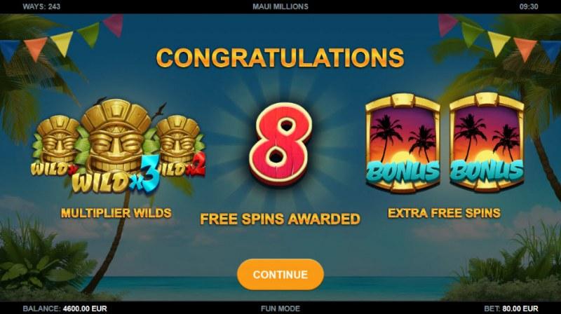 Maui Millions :: 8 Free Spins Awarded
