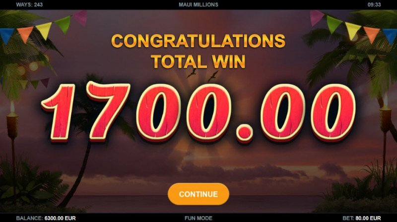 Maui Millions :: Total free spins payout