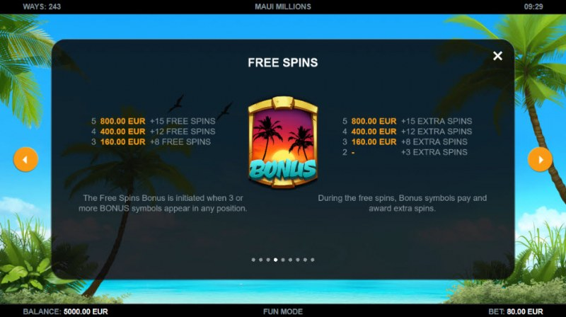 Maui Millions :: Free Spins Rules