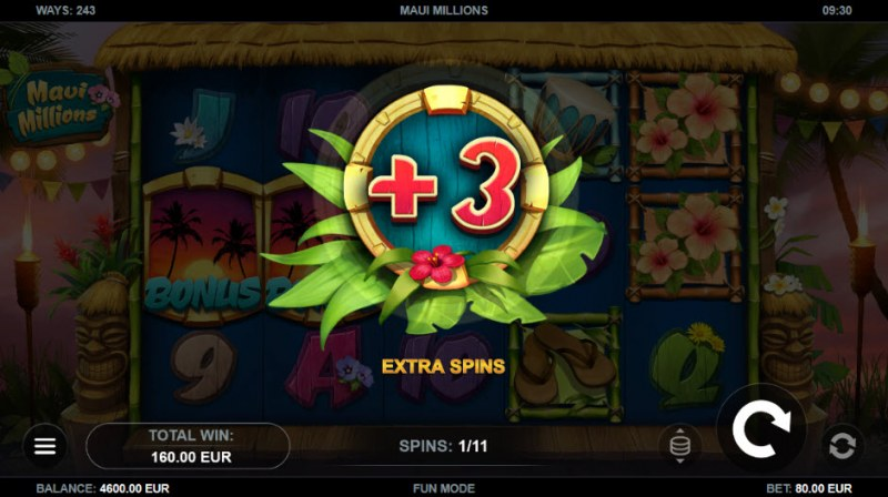 Maui Millions :: 3 additional free spins awarded