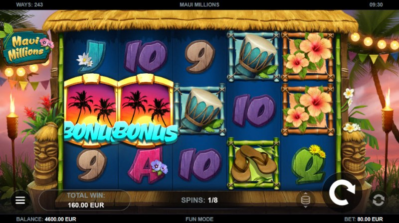 Maui Millions :: Two or more scatters awards extra free spins