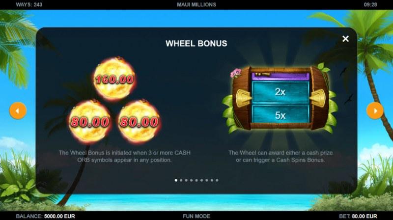 Maui Millions :: Wheel Bonus