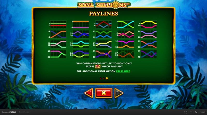Maya Millions :: Paylines 1-40