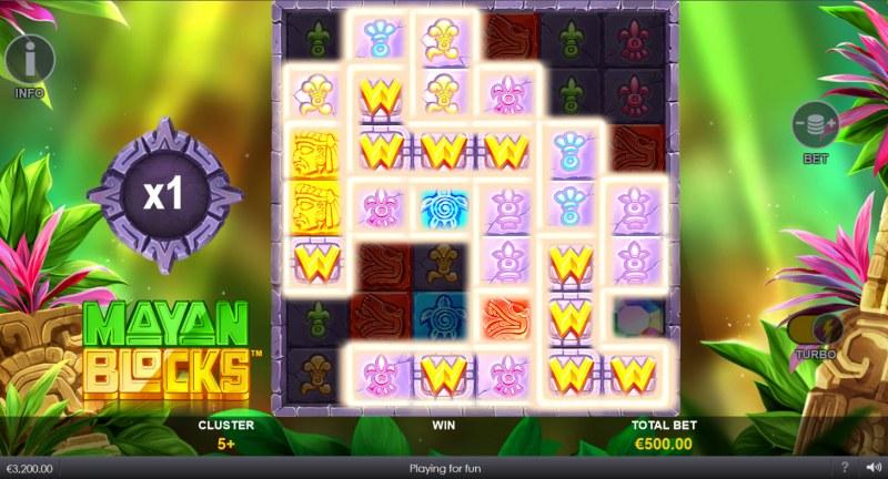 Mayan Blocks :: Multiple winning clusters lead to a big win