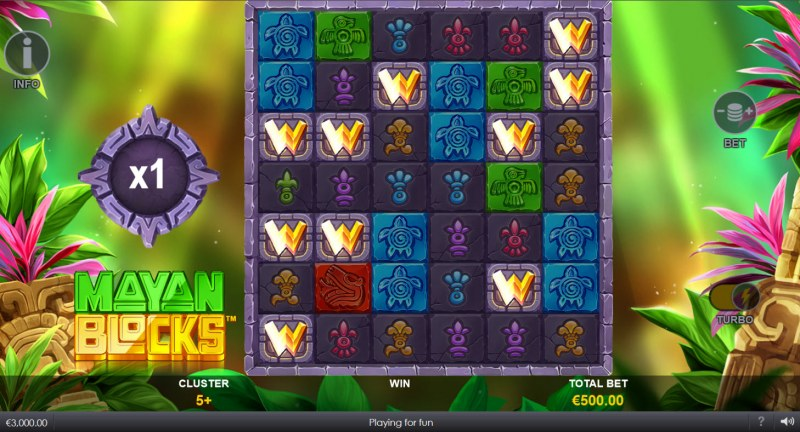 Mayan Blocks :: Wilds can be added to the reels randomly